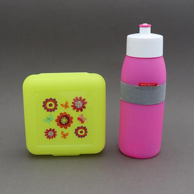 Lot gourde rose vif et boite à goûter sans BPA Jardin