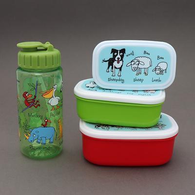 Lot 3 boîtes à gouter plus gourde sans BPA Tous les animaux