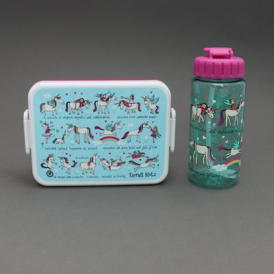 Lot boite à goûter - déjeuner et gourde sans BPA Licornes