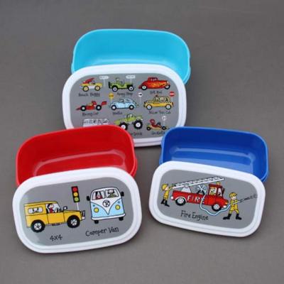 Lot 3 boites à goûter ou déjeuner enfants sans BPA Voitures et camions Tyrrell Katz