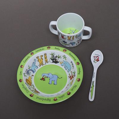 Trio pour bébé bol, tasse et cuillère Animaux de la jungle