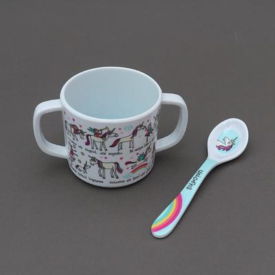 Duo tasse et cuillère pour enfant Licornes