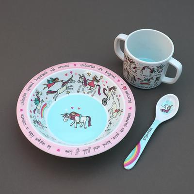 Trio pour bébé bol, tasse et cuillère Licornes