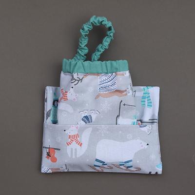 Serviette de cantine cou élastique et pochette assortie Animaux de la banquise