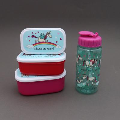 Lot 3 boîtes à gouter plus gourde sans BPA Licornes