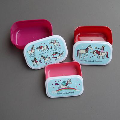 Lot 3 boites à goûter sans BPA Licornes