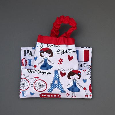 Serviette de table enfant cou élastique et sa pochette assortie La Parisienne