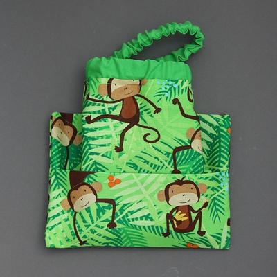 Serviette de table enfants cou élastiqué Ouistiti et sa pochette assortie