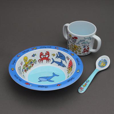 Trio pour bébé bol, tasse et cuillère Océan