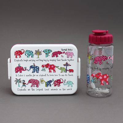 Lot boite à goûter / déjeuner et gourde sans BPA Elephants