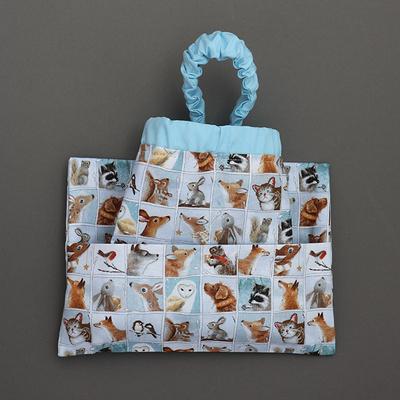 Serviette de cantine enfant cou élastique et pochette assortie Mes animaux