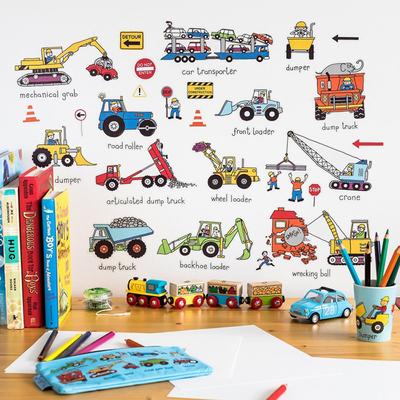 Autocollants muraux pour chambres d'enfants Camions et Engins
