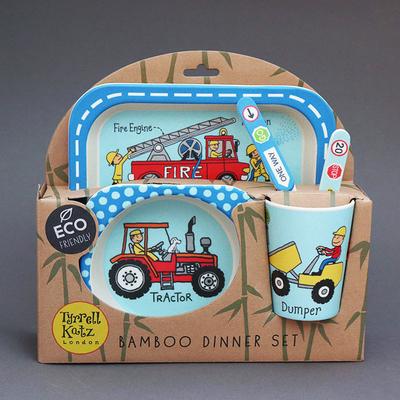 Lot vaisselle et couverts en bambou pour enfant Camion et tracteur