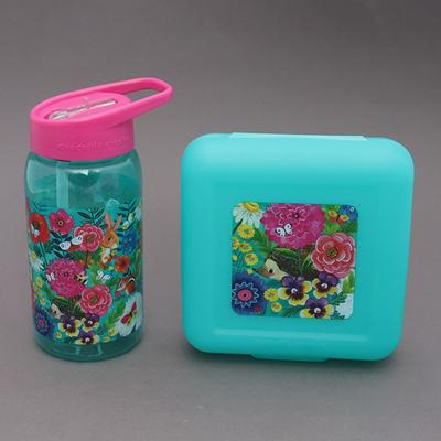 Lot grande gourde et boite à goûter sans BPA Mon jardin pour enfant