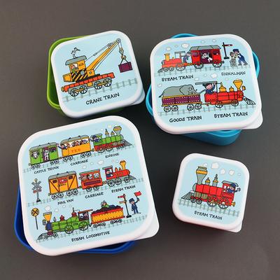 Lot 4 boites à goûter ou déjeuner sans BPA pour enfants Trains