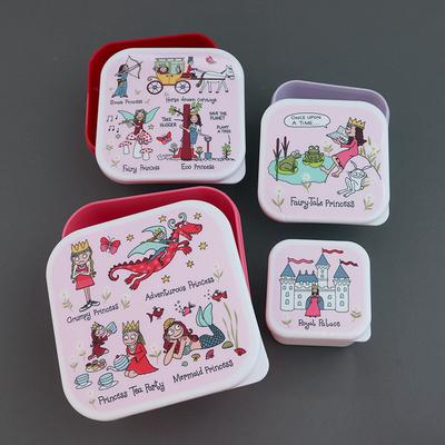 Lot 4 boites à goûter ou déjeuner sans BPA pour enfants Princesse moderne