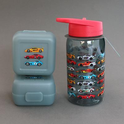 Lot deux boîtes et une gourde pour enfant sans BPA Voitures