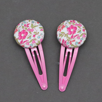 Duo de barrettes enfant en Liberty Katie and Millie rose