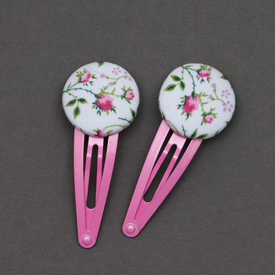 Duo de barrettes enfant en Liberty Rosa