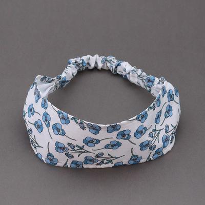 Bandeau en Liberty Ros bleu doublé taille 4 - 7 ans