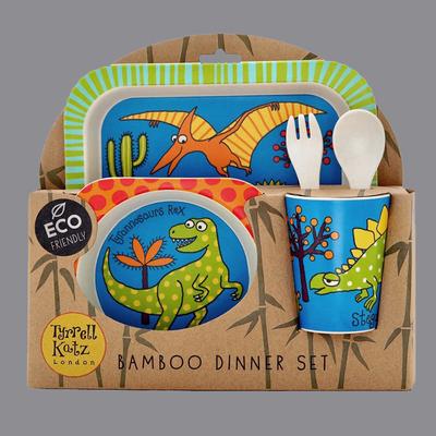 Lot vaisselle en bambou Dinosaures pour enfant