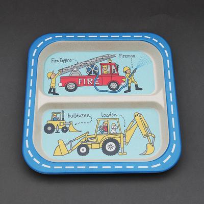 Assiette à compartiments en bambou pour enfant Camion de pompier et bulldozer