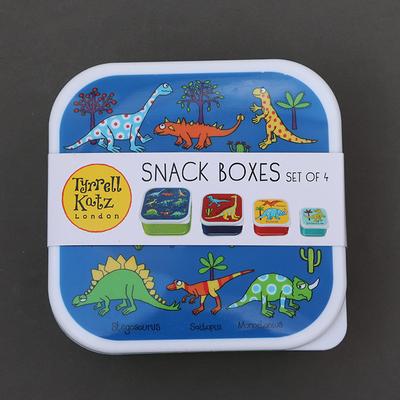 Lot 4 boites à goûter ou déjeuner sans BPA pour enfants Dinosaures