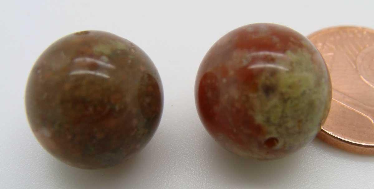 2 PERLES SEMI-PERCEES PIERRE Marron clair rondes 12mm DIY création bijoux
