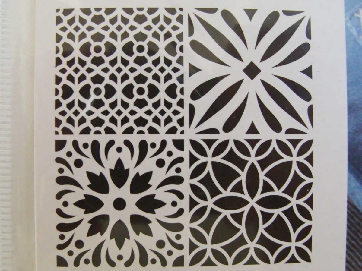 pochoir home deco 4 motifs mix2 style carreaux de ciment. Black Bedroom Furniture Sets. Home Design Ideas