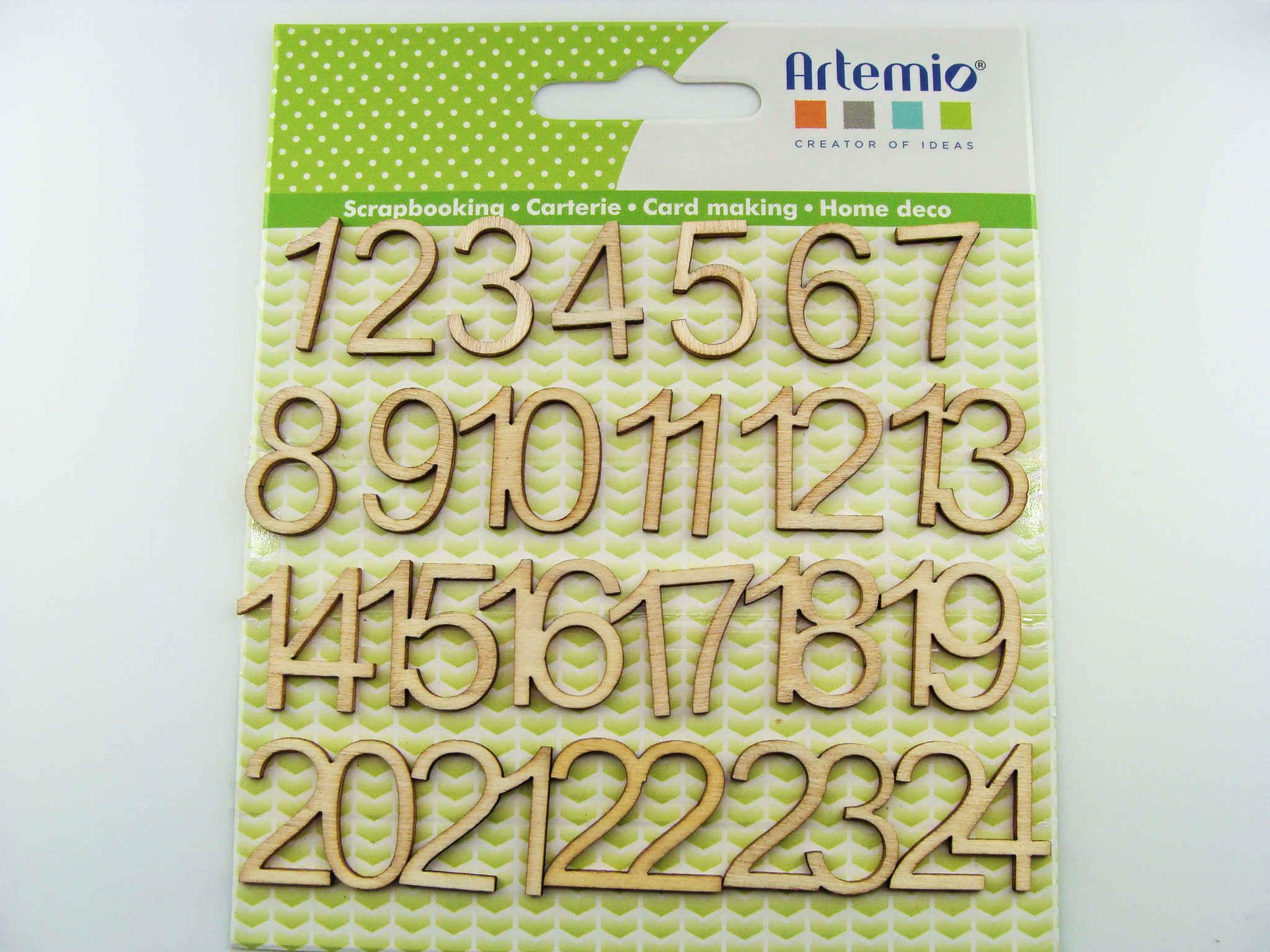 Chiffres Pour Calendrier De Lavent.Embellissement Scrapbooking Bois Chiffres 1 A 24 Nombres 19mm Calendrier Avent Noel Artemio Par 24 Pcs