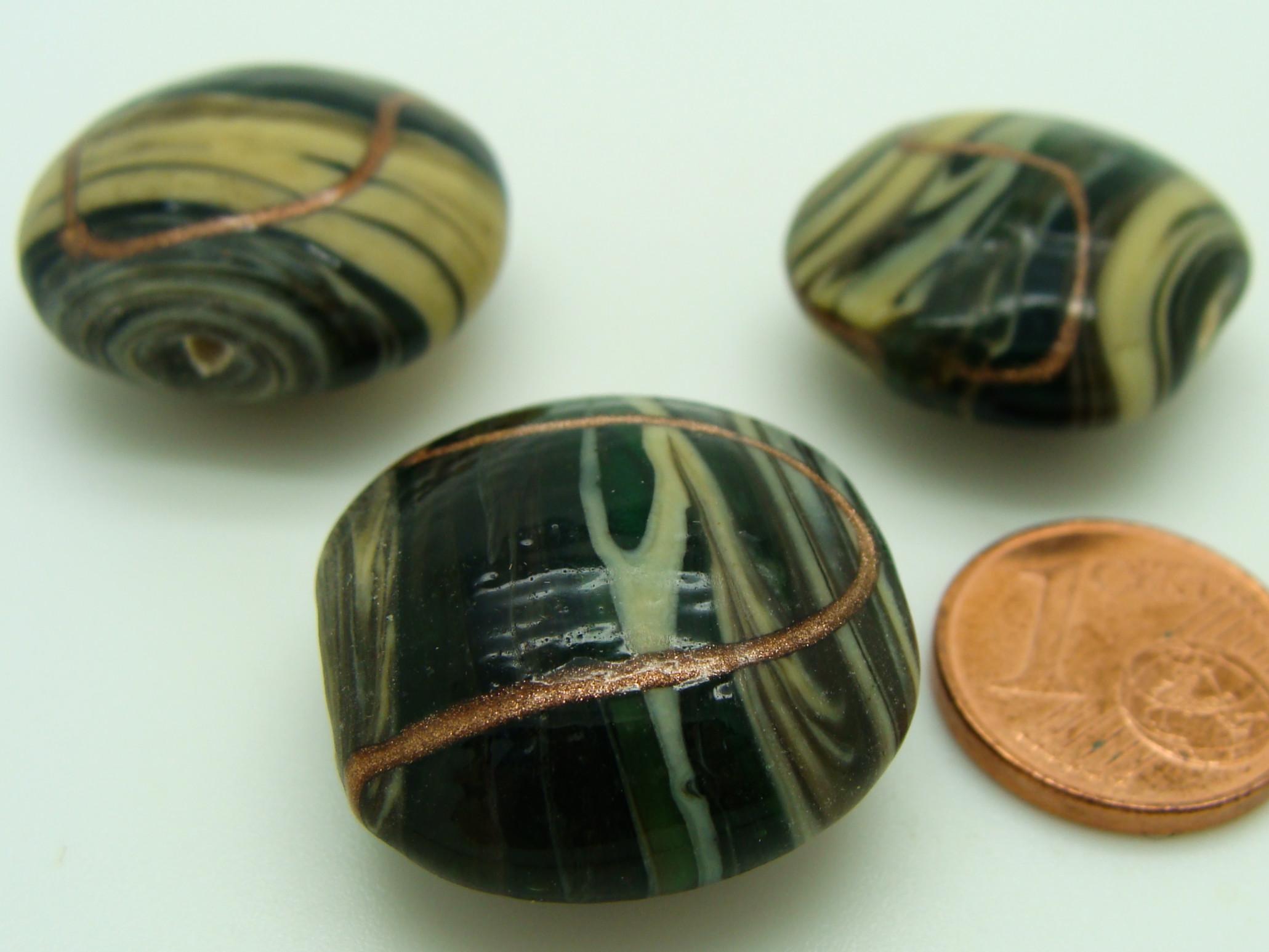 2 perles verre lampwork tubes 24mm rose motifs vert marron DIY création bijoux