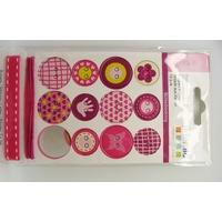 Boutons carton Girl  + 1m fil + 1m ruban Artemio par 14 pcs