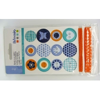 Boutons carton Boy + 1m fil + 1m ruban Artemio par 14 pcs