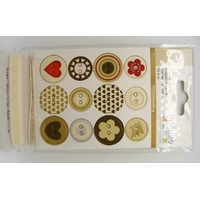 Boutons carton Love + 1m fil + 1m ruban Artemio par 14 pcs