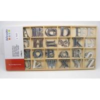 Lettres Alphabets Miroir 30mm décoration boite bois 130 pièces
