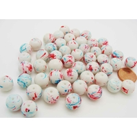 Perles verre rondes 10mm Blanc motifs abstraits par 50 pcs
