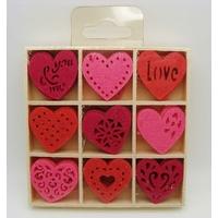 Embellissements appliques Feutrine Coeurs rose à fuchsia par 1 boite bois de 45 pcs