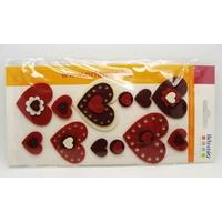 Embellissements appliques Feutrine LOVE Coeurs par 12 pcs