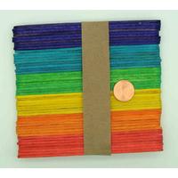 Bâtons esquimau en BOIS 11x0,9 cm peints mix couleurs par 48 pcs