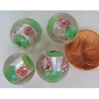 Perles verre Bande argentée ROND 12mm VERT par 4 pcs