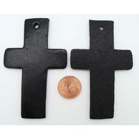 Croix Découpes Cuir 70x43mm pour pendentif ou déco Noir par 2 pcs