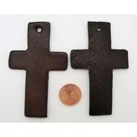 Croix Découpes Cuir 70x43mm pour pendentif ou déco Marron par 2 pcs