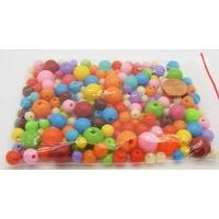 Perles Acrylique Rondes MIX couleurs unies tailles 6 à 12mm par 50 grammes