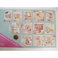 Bloc 12 cartes prédécoupées Romantique  vintage 24,5cm