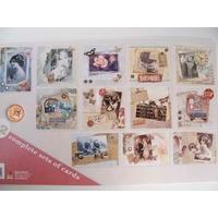 Bloc 12 cartes prédécoupées Vintages 24,5cm