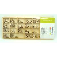 Alphabet Lettres A-Z majuscules 12mm en casier bois 162pcs