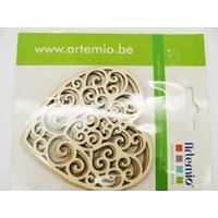 Coeur ajouré arabesque en bois 80mm à décorer par 3 pcs