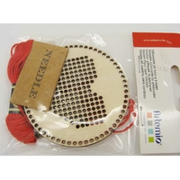 Kit broderie Coeur support rond 70mm fil rouge aiguille