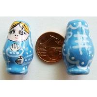 Perles Poupées Russes Porcelaine BLEU par 2 pcs