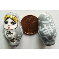 Perles Poupées Russes Porcelaine GRIS par 2 pcs